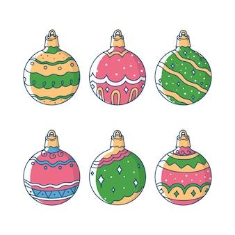 Hand drawn christmas balls set