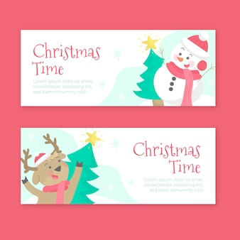Hand drawn christmas banners template