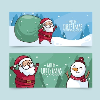 Hand drawn christmas banners template