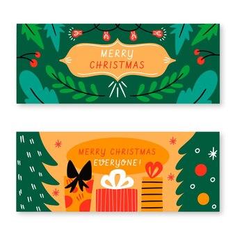 Ручной обращается рождественские баннеры шаблон