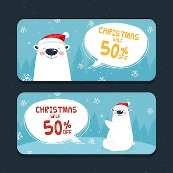 Hand drawn christmas banners with 50% off