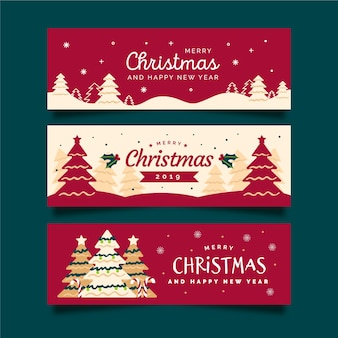 Hand drawn christmas banners with christmas tree and red background