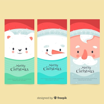 Hand drawn christmas banners
