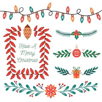 Нарисованные от руки рождественские бордюры и рамки