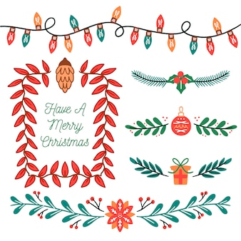 Hand-drawn christmas borders and frames