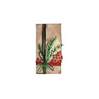 Ручной обращается рождественская коробка, завернутая в бумагу и украшенная ветками и лентами. акварельные векторные иллюстрации