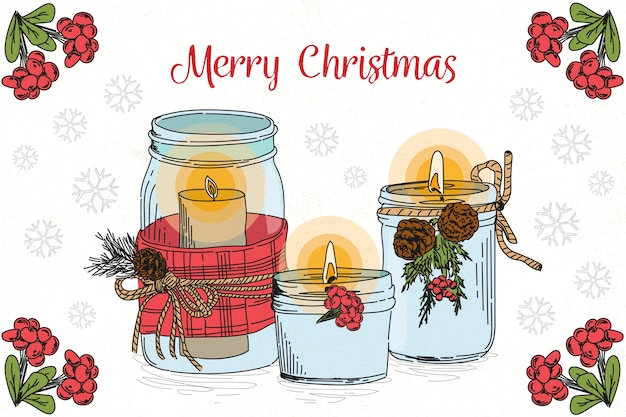 Hand drawn christmas candle background