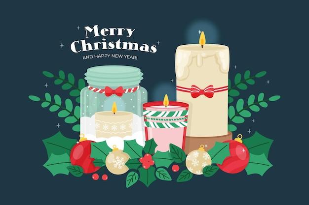 손으로 그린 크리스마스 촛불 배경