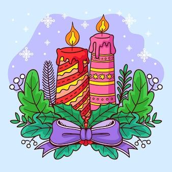 Fondo disegnato a mano della candela di natale