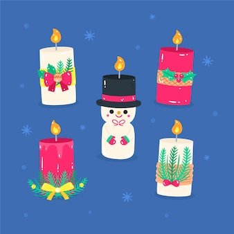 Hand drawn christmas candle collection on blue background