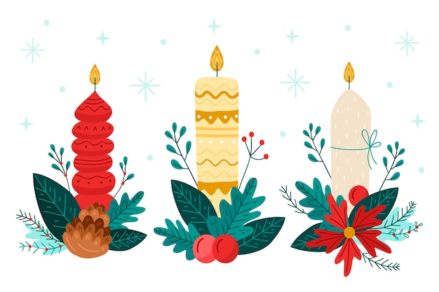 Hand drawn christmas candle collection