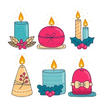 손으로 그린 크리스마스 촛불 컬렉션