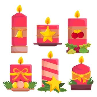 手描きのクリスマスキャンドルコレクション