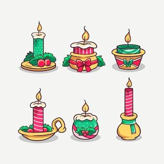 Collezione di candele di natale disegnate a mano