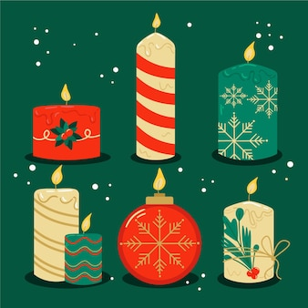 Коллекция рисованной рождественских свечей