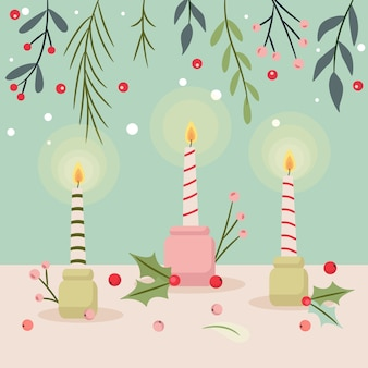 Hand drawn christmas candle and mistletoe background