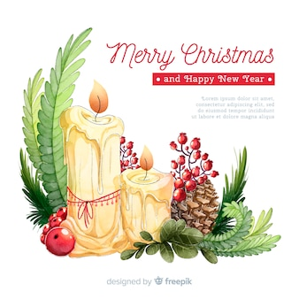 Hand drawn christmas candle ornament background
