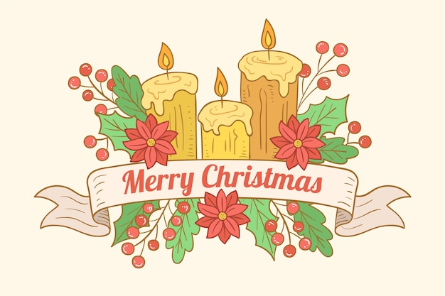 Hand drawn christmas candle wallpaper