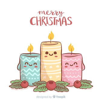 Hand drawn christmas candles background