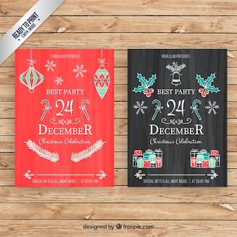 칠판 스타일에 손으로 그린 크리스마스 카드
