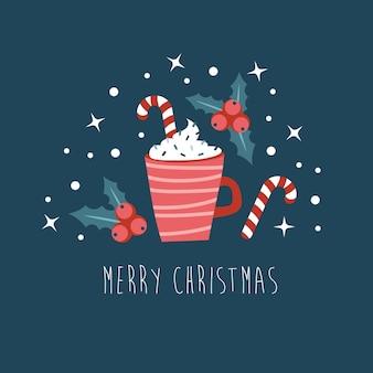 Рождественская открытка нарисованная рукой. красная чашка с горячим напитком со взбитыми сливками