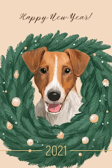 Hand drawn christmas card with jack russell terrier and fir wreath