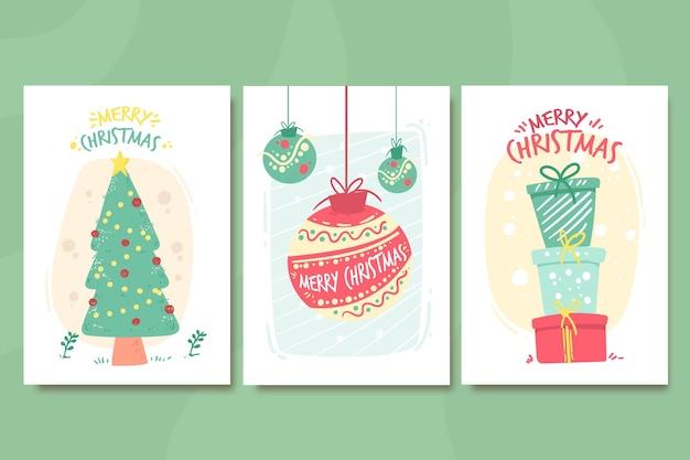 손으로 그린 크리스마스 카드 컬렉션