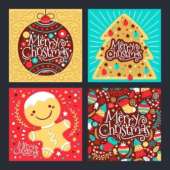 Коллекция рисованной рождественских открыток