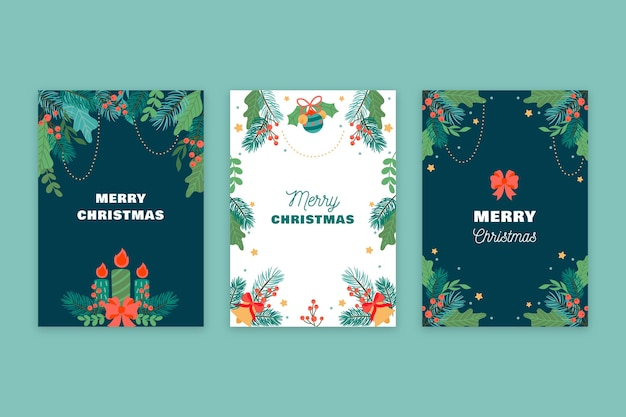 Hand drawn christmas cards concept