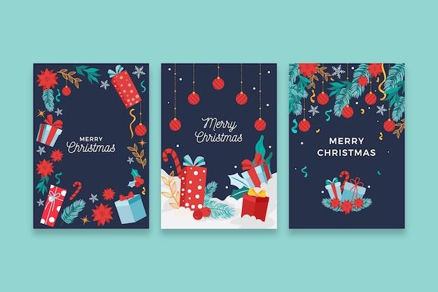 손으로 그린 크리스마스 카드 개념