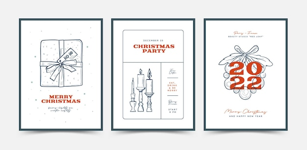 Hand drawn christmas cards or poster