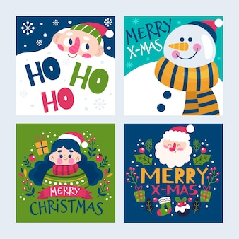 Hand drawn christmas cards template