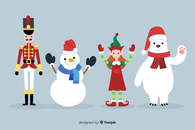 Hand drawn christmas character collection