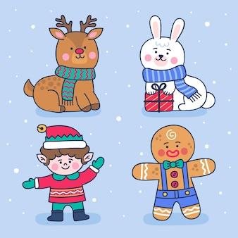 손으로 그린 크리스마스 캐릭터 컬렉션
