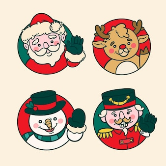 Collezione di personaggi natalizi disegnati a mano