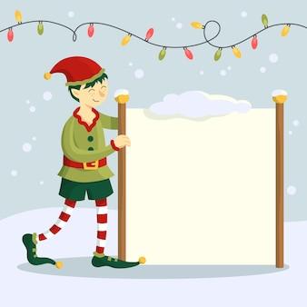 Elfo disegnato a mano del carattere di natale che tiene insegna in bianco