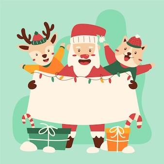 空白のバナーを保持している手描きのクリスマスのキャラクター