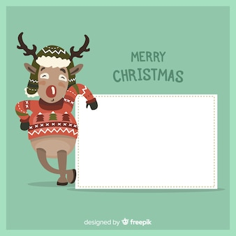 Hand drawn christmas character holding white empty card
