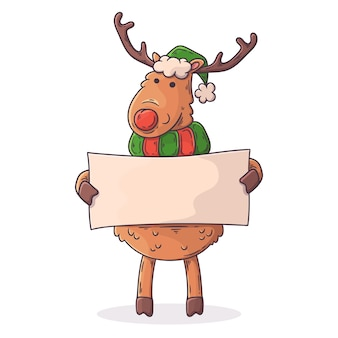 Hand drawn christmas character reindeer holding blank banner