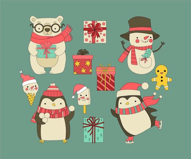 手描きのクリスマスの文字と要素