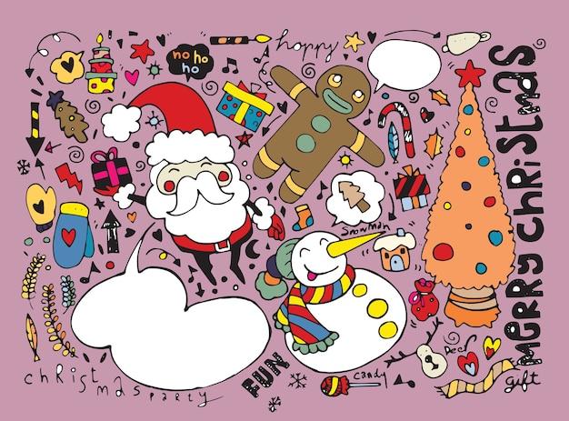 손으로 그린 크리스마스 문자 및 요소