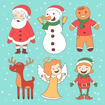 Hand drawn christmas characters collection with snow