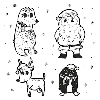 Hand drawn christmas characters collection