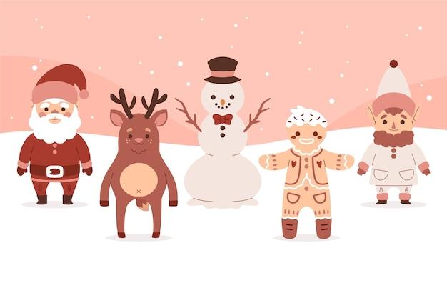 手描きのクリスマスキャラクターコレクション
