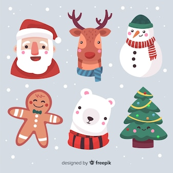 Hand drawn christmas characters faces collection