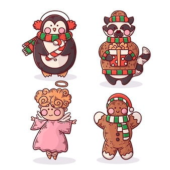 Hand drawn christmas characters pack