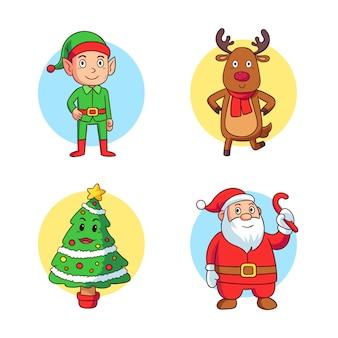 Набор рисованной рождественские символы