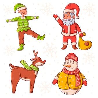Набор рисованной рождественских персонажей