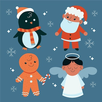 Set di caratteri natalizi disegnati a mano