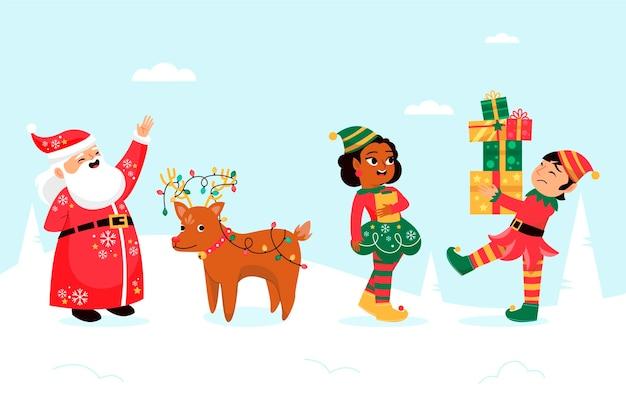 Personaggi natalizi disegnati a mano